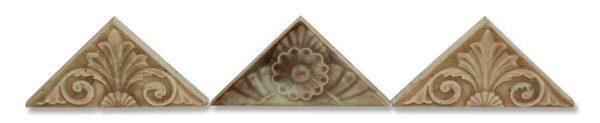 Set of Three Ornate Triangular Tiles