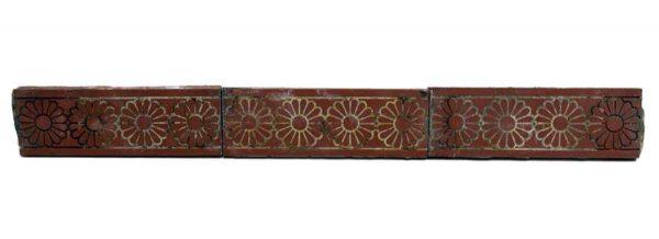 Set of Five Floral Burgundy Tiles