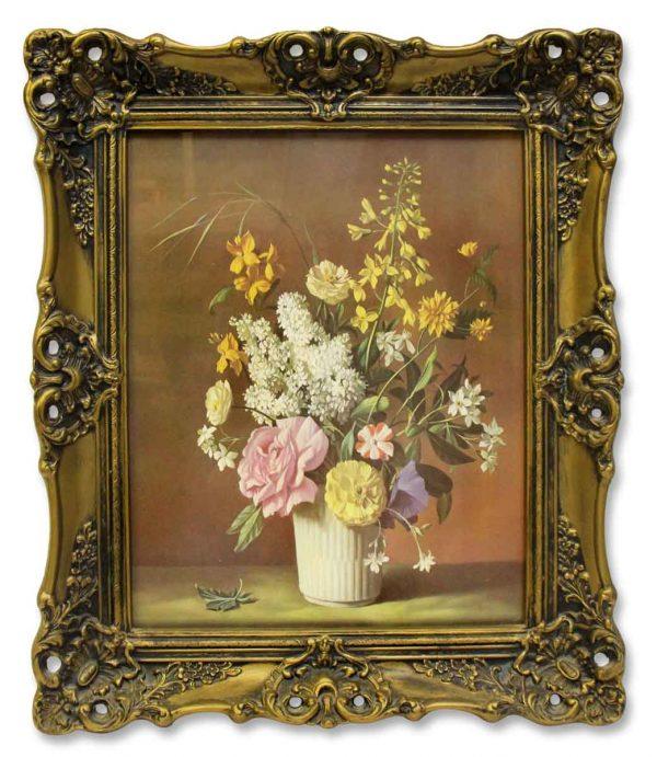 Vintage Floral Print with Ornate Frame