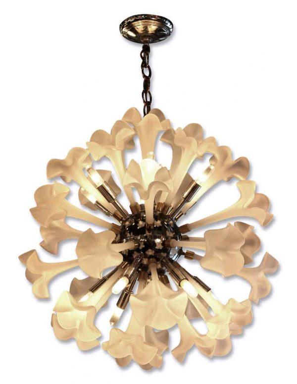 Mid Century Frosted Glass Floral Sputnik Light