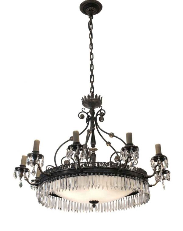 Elegant Bronze & Crystal Ten Arm Caldwell Chandelier