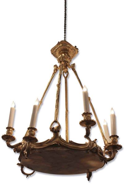 Antique French Gilt Bronze and Marble Chandelier