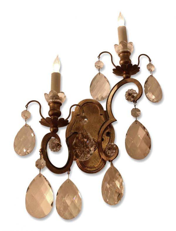 Bronze & Crystal Sconces