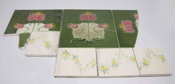 Set of Nine Broken Green Assorted Tiles