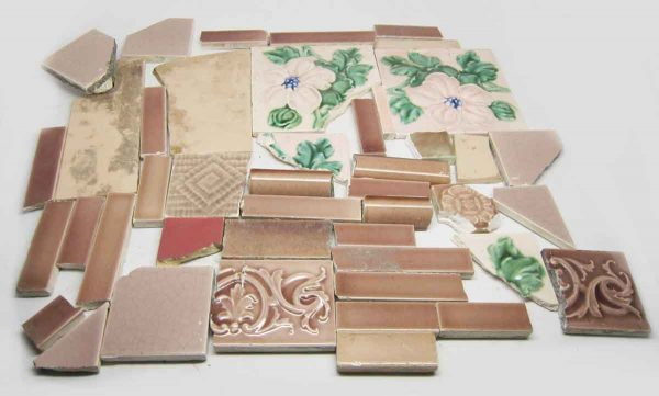 Set of 45 Pink Assorted Broken Tiles