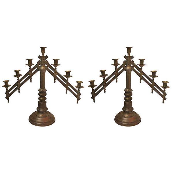 Pair of Ecclesiastical Benediction Candelabras