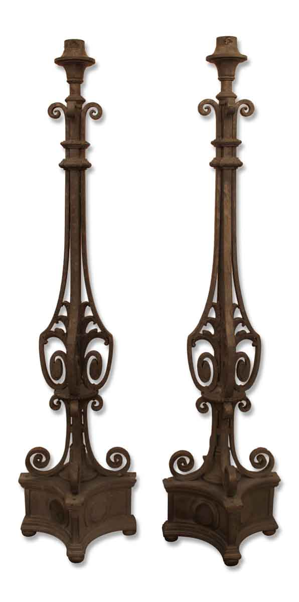 Pair of Zinc Plated Iron Torchiere Lights
