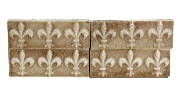 Set of Four Crackle Tan Fleur de Lis Ceramic Tiles