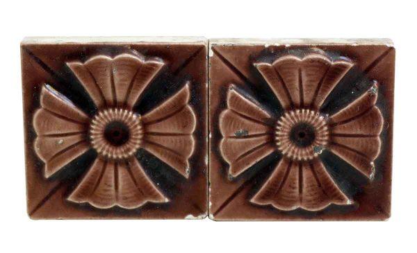 Set of Two Geometric Burgundy Tiles