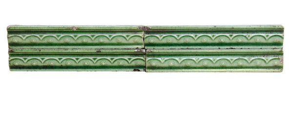 Set of 4 Light Green Decorative Ceramic Tiles