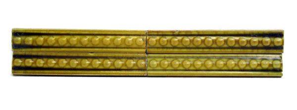 Set of Four Yellow Green Decorative Tiles