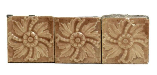 Set of 5 Decorative Tan Floral Tiles