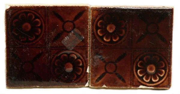 Pair of Brown Decorative Tiles