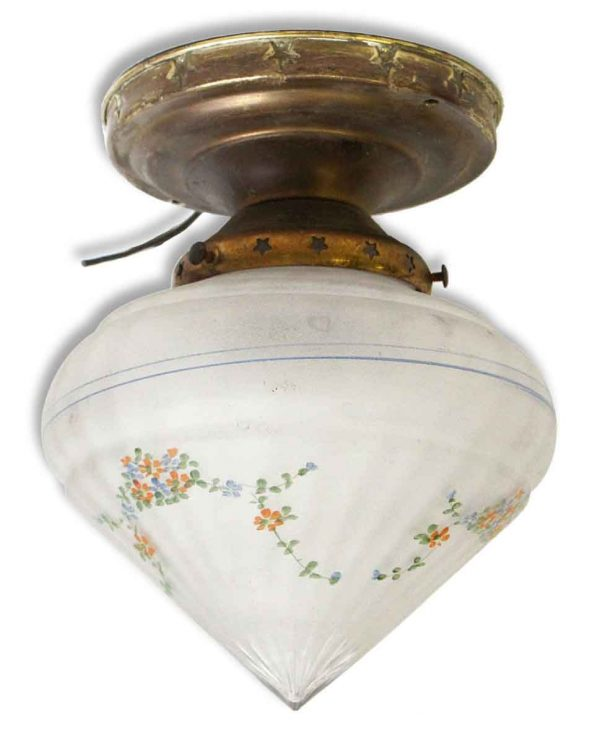 Floral Glass Shade with Brass Fixture & Star Detail