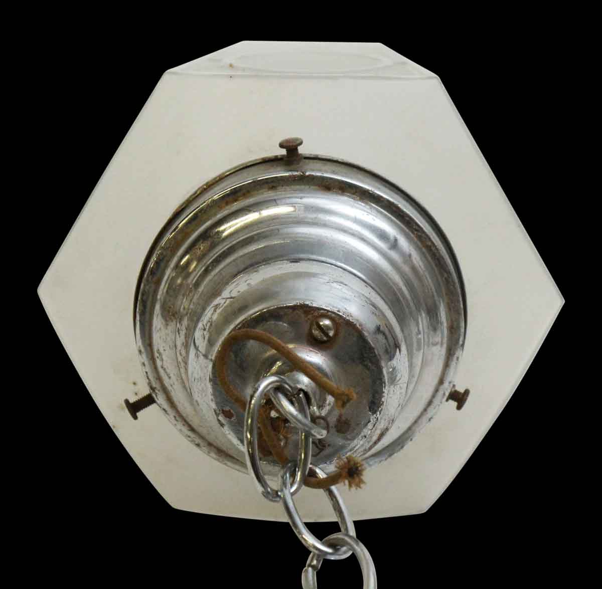 1920s Etched Glass Hanging Light Fixture
