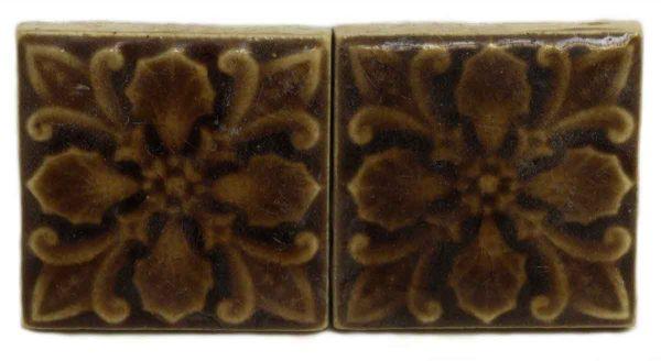 Pair of Ornate Brown Decorative Tiles