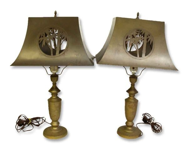 Pair of Metal Lamps with Cut Out Metal Shade