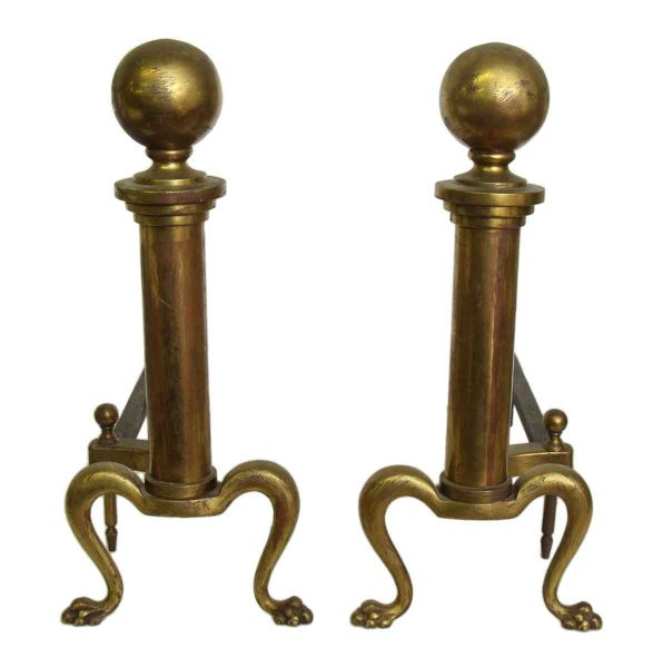 Pair of Cast Brass Andirons with Paw Feet