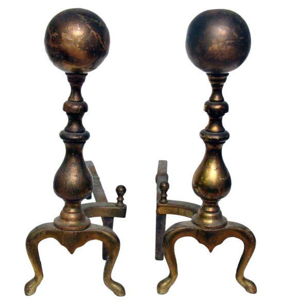 Pair of Bronze or Brass Andirons