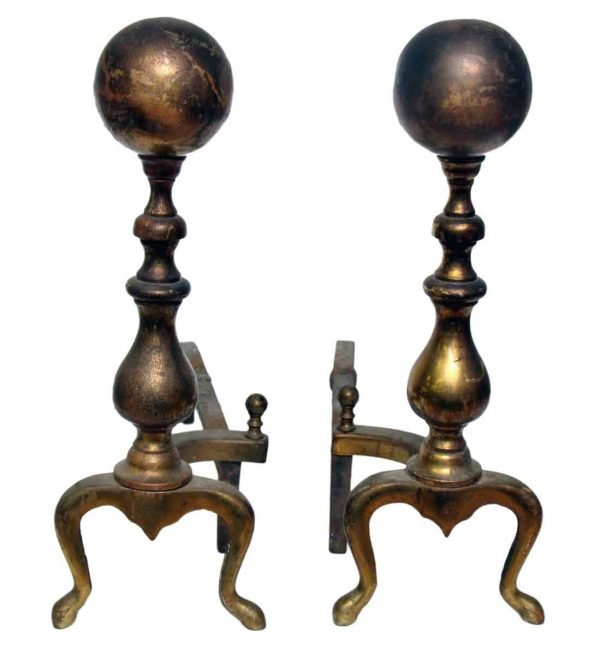 Pair of Bronze or Brass Andirons