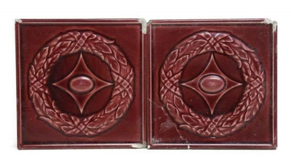 Set of Five Dark Red Decorative Tiles