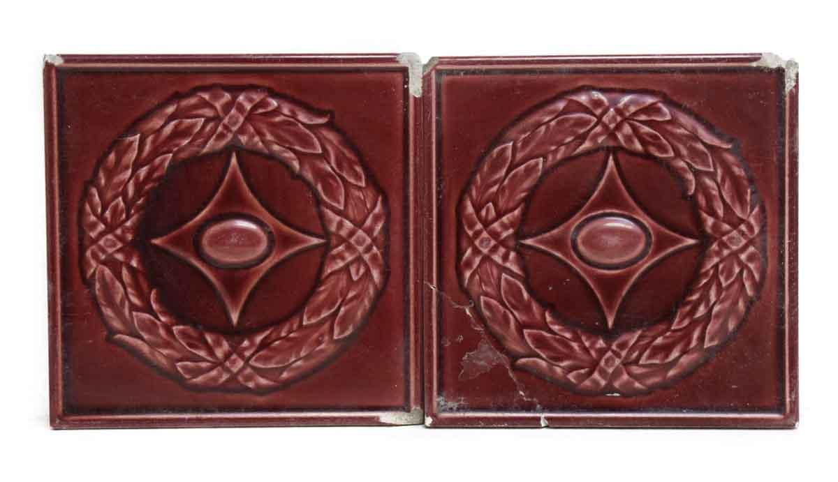 Set Of Five Dark Red Decorative Tiles Olde Good Things