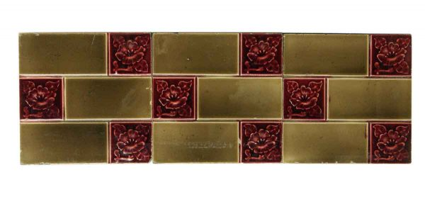Set of Brown & Red Floral Decorative Tiles