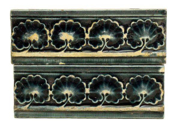 Set of Four Dark Blue Shell Antique Tiles