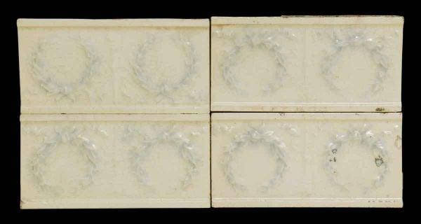 Set of 14 Decorative Blue Wreath White Tile