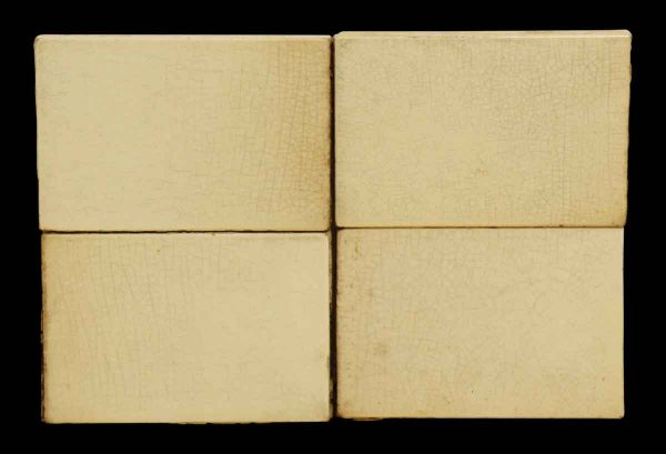 Set of Seven Small Off White Crackled Tiles