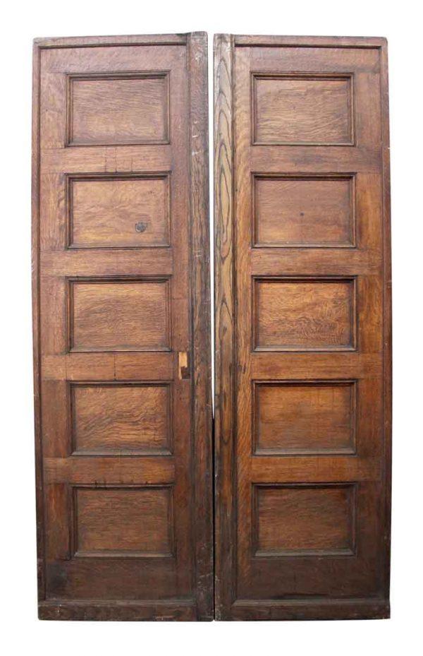 Pair of Five Paneled Wooden Doors