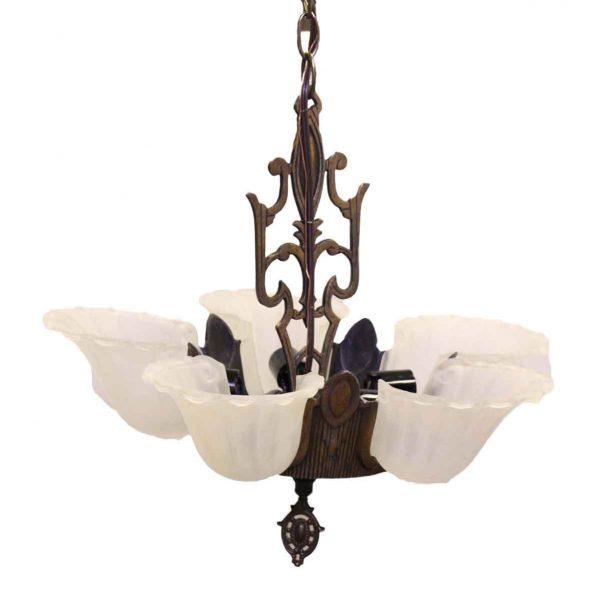 Five Light Glass Slip Shade Art Deco Chandelier