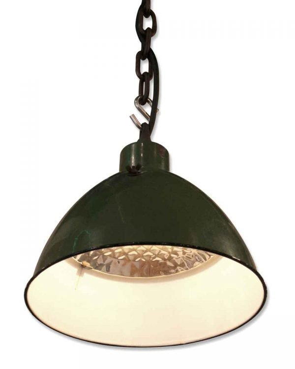 Green Industrial Pendant Light with Original Mercury Reflector