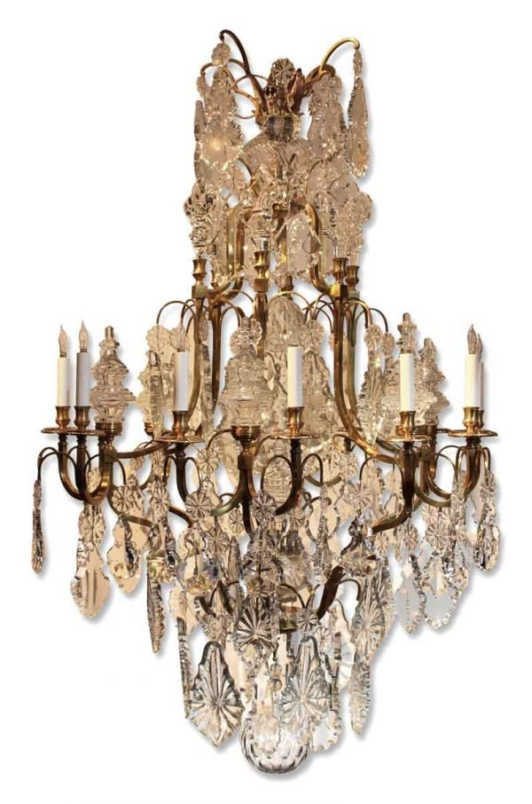 Large Louis Xv Style Bronze & Crystal Chandelier