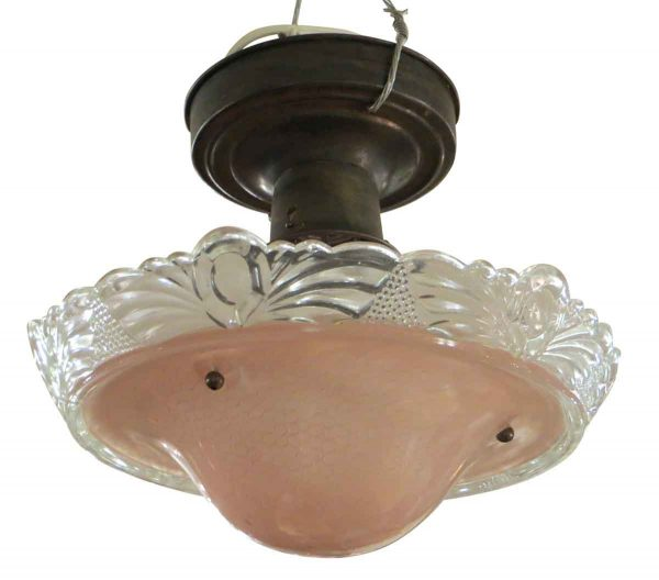 Pink and Clear Petite Flush Mount
