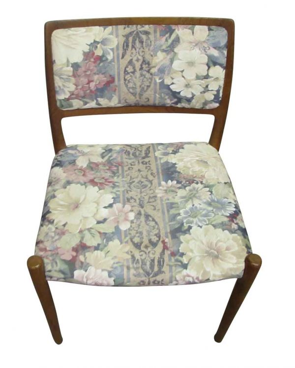 Set of Six Floral Wooden Chairs