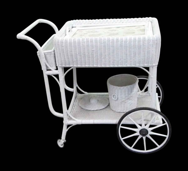 White Wicker Tea Cart with Ice Bucket