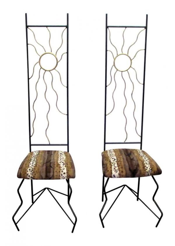 Unique Tall Back Chairs with Animal Print Seats