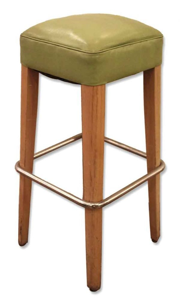 Thonet Green Vinyl Bar Stools