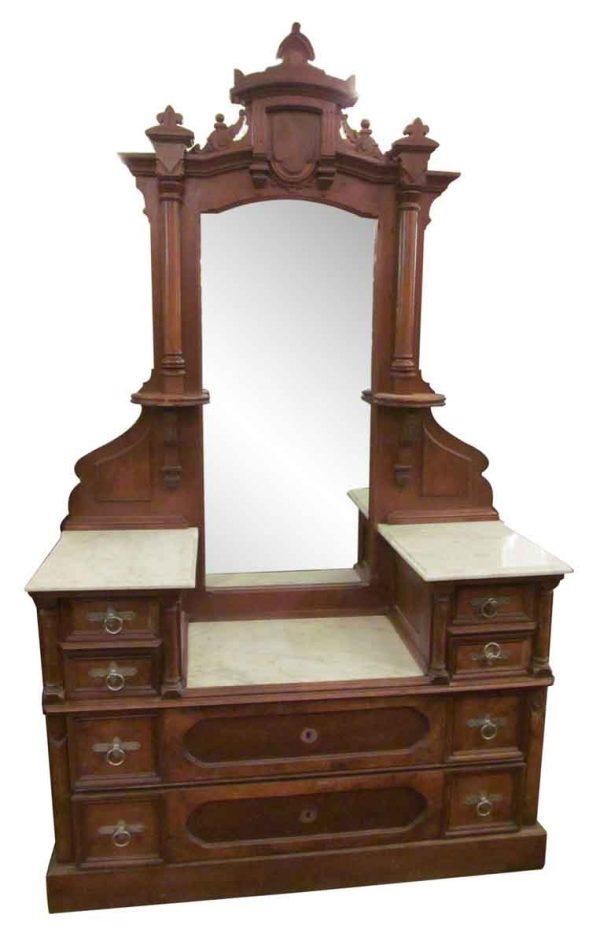Eastlake Carved Walnut Marble Top Vanity Dresser