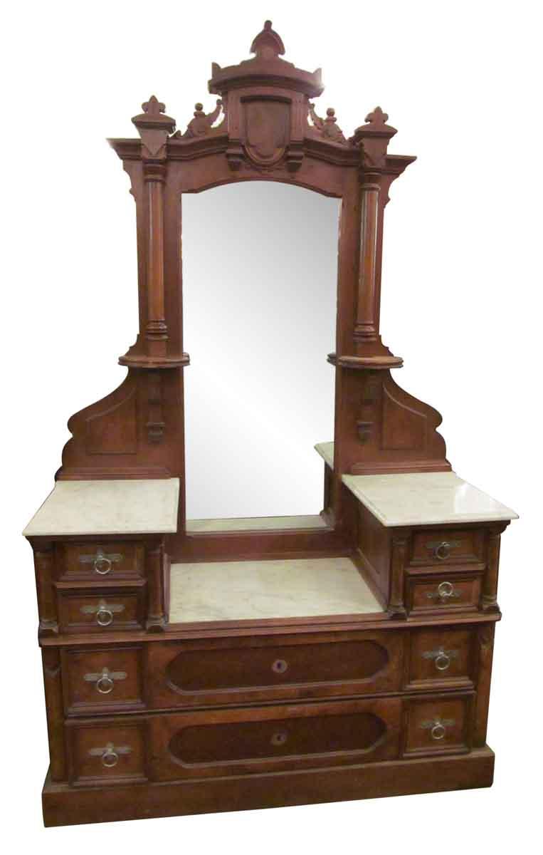 Eastlake Carved Walnut Marble Top Vanity Dresser Olde Good Things