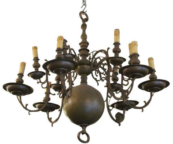 Twelve Arm Bronze Colonial Style Chandelier