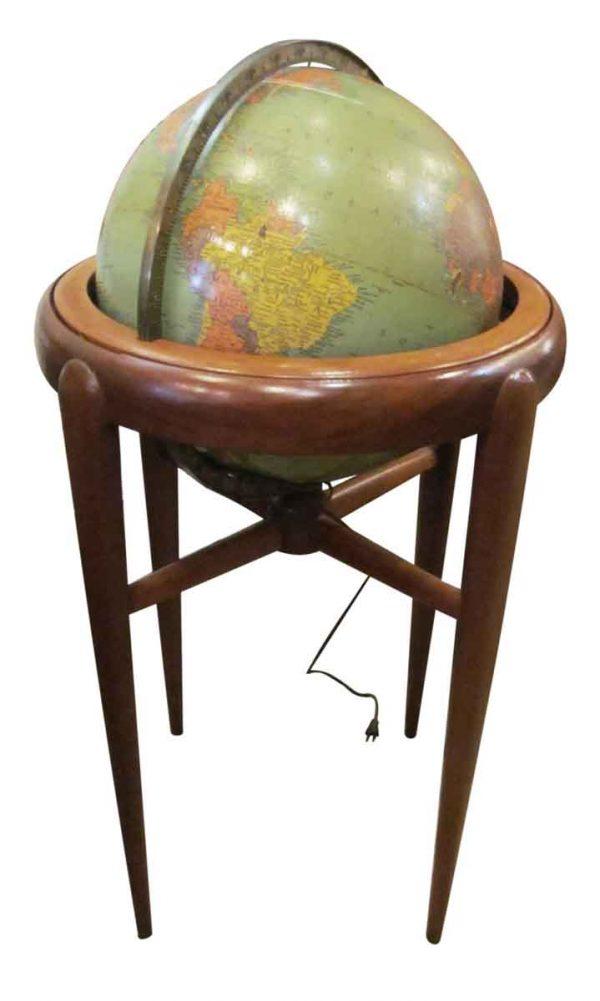 Vintage Lighted Globe with Mid Century Base