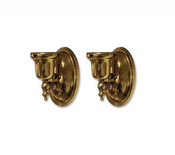 Pair of Gold Finished Metal Sconces