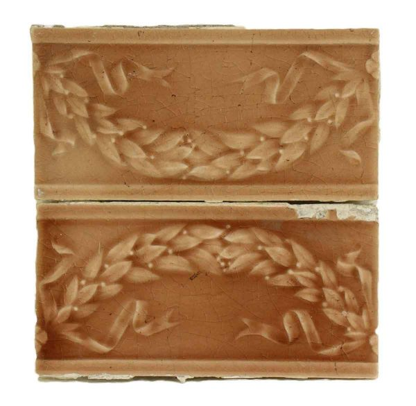 Pair of Decorative Salmon Colored Tile