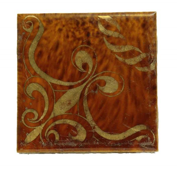 Single Pretty Decorative Tile Gold
