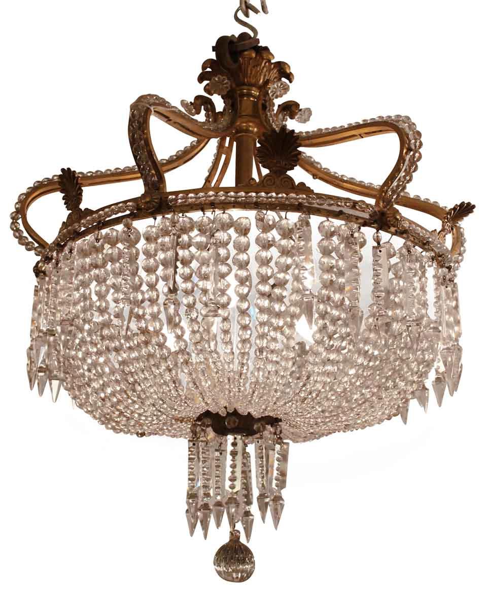 1800s Beaded Basket Crystal Chandelier