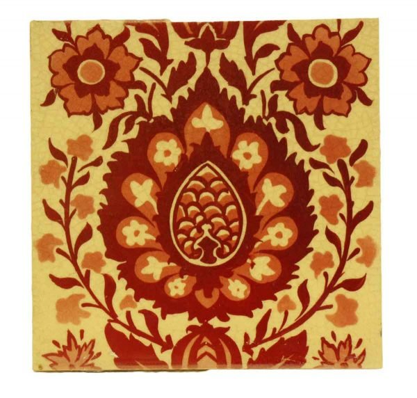 Single Red & Tan Decorative Tile