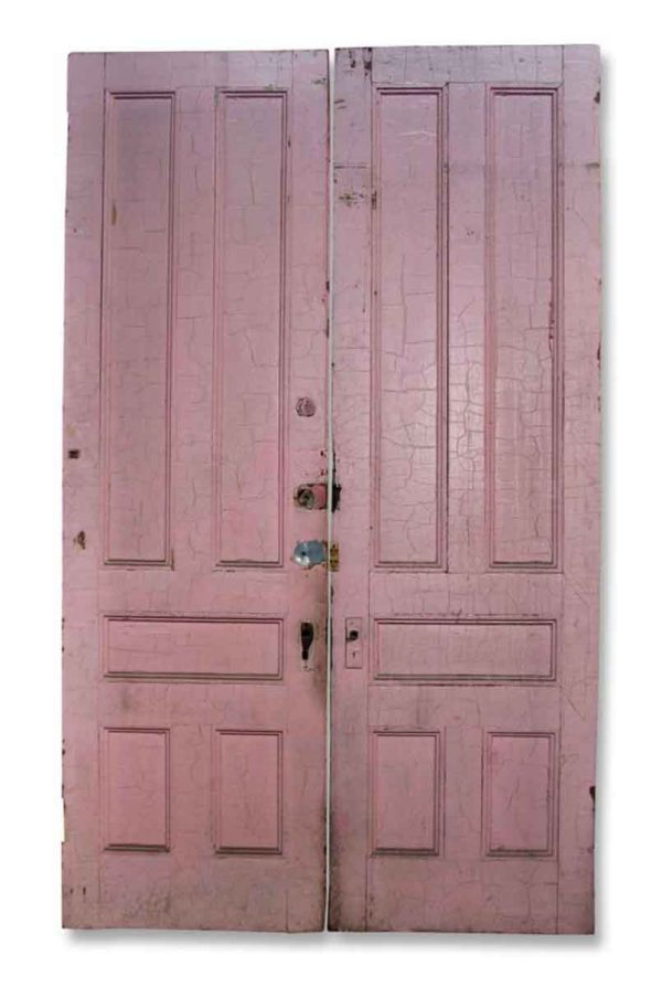 Pair of Doors with Crackled Pink Paint