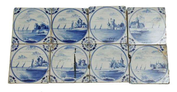 Dutch Scenic Blue Tile Set
